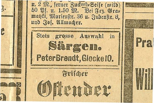 """Am Donnerstag dem 22. Dezember 1910 erschien in der Tageszeitung """"Bote an der Inde"""" folgende Anzeige - Bücken-Brendt Bestattungen Seit 1866 in Eschweiler"""